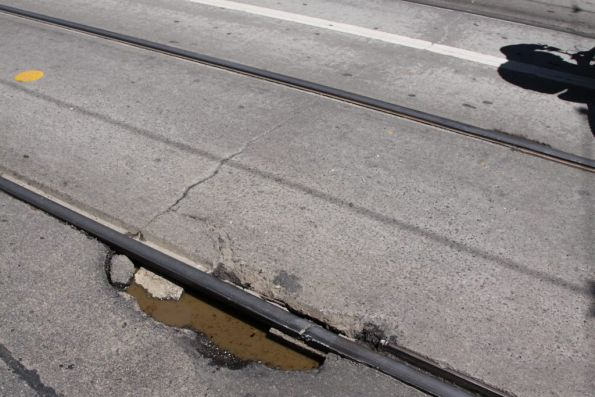 Damaged rail joint in the tracks on Swanston Street