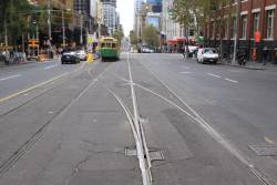 Single bladed point at the east end of the Swanston Street crossover on La Trobe Street