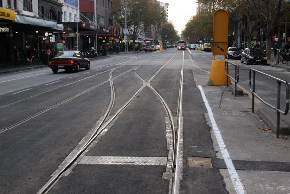 Replacement crossover on Elizabeth Street at Lonsdale Street, looking north