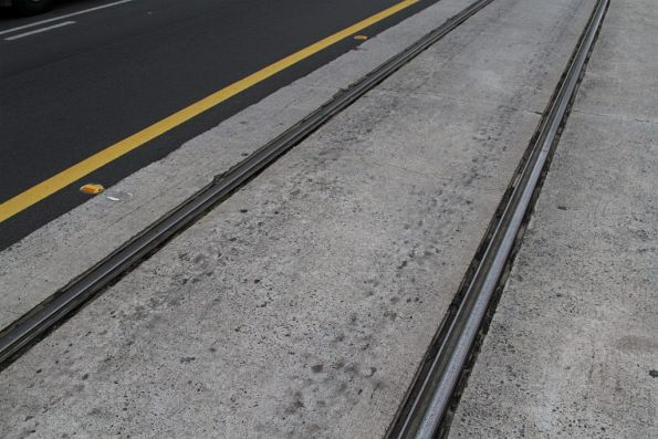 Track embedded in concrete atop Melbourne Central railway station on La Trobe Street