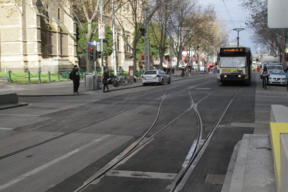 Newly installed crossover at Swanston Street and Flinders Lane