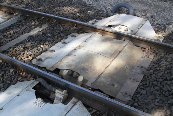 Wheel measuring sensors in the tracks outside Southbank Depot