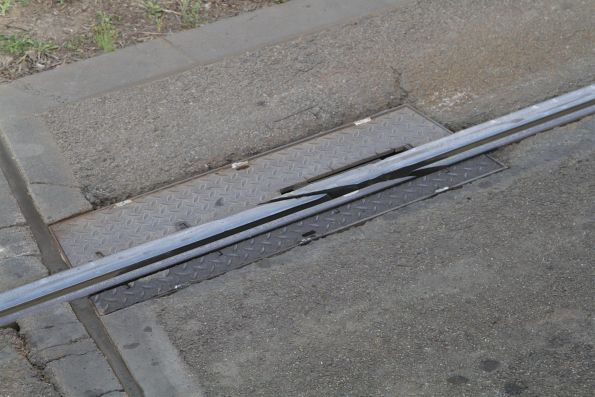 Expansion joint in the tram rails on the south side of Princes Bridge