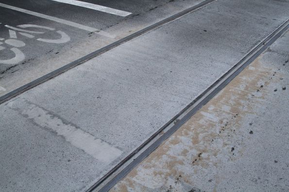 Sand covers the tram tracks at Bourke and William Street