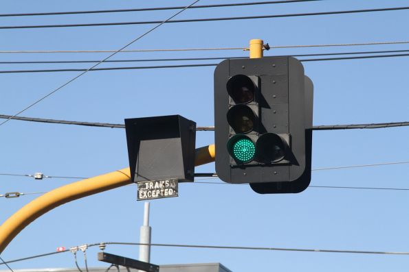 'Trams excepted' notice beneath the 'No right turn' sign at Toorak and Glenferrie Road
