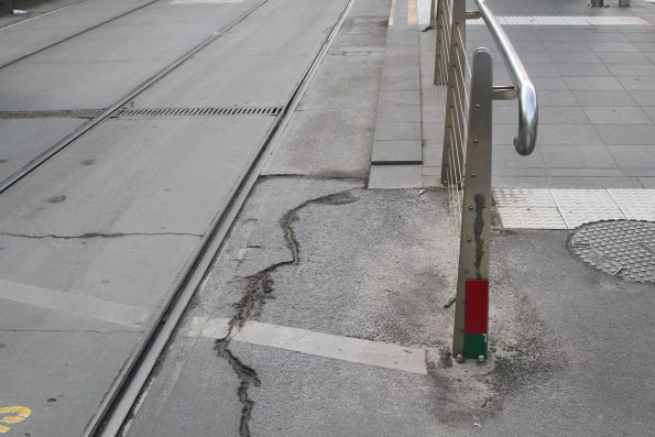 Flood go/no go depth markers beside the tram tracks at Flinders and Market Street