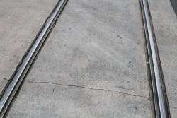 Tram tracks atop Melbourne Central Station on La Trobe Street at Swanston Street