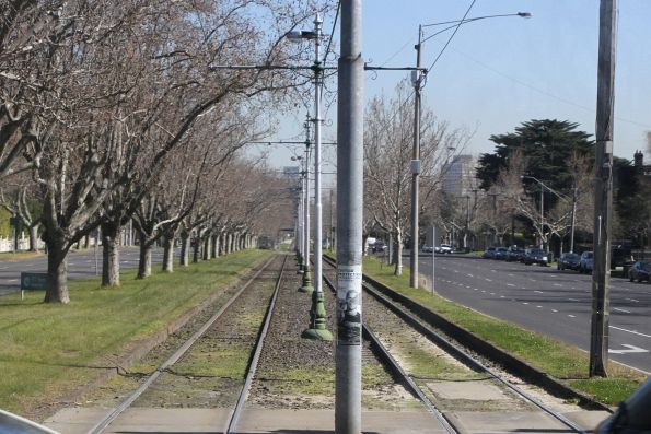 Tram tracks in the central reservation of Dandenong Road at Williams Road