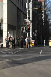 'No right turn' sign and removed hook turn signage eastbound at La Trobe and William Street