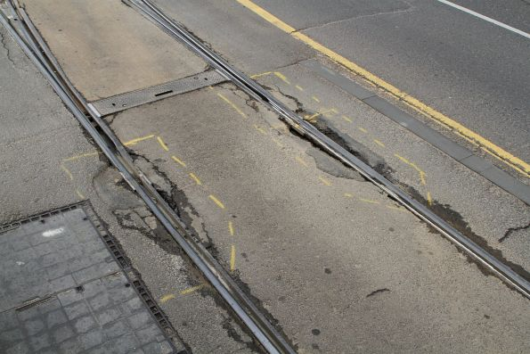 Failing rail joints at Spencer and Collins Street