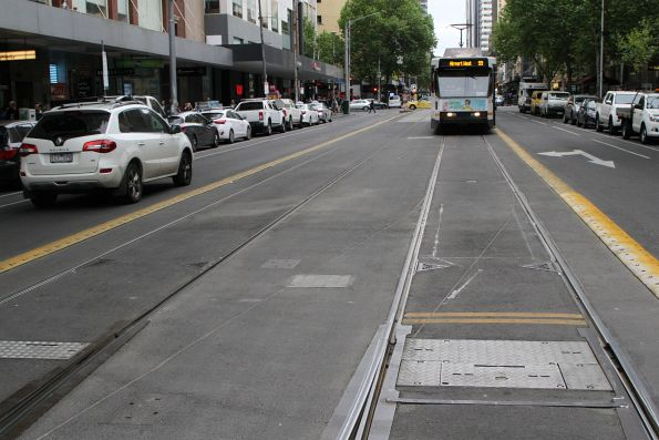Gouge marks on the asphalt mark where a tram derailed at the Elizabeth Street terminus