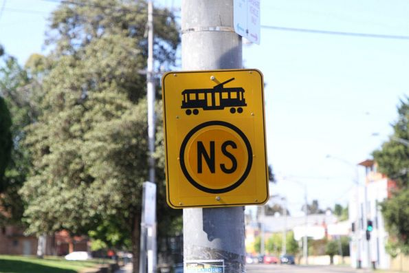 'NS' (normal speed) sign for trams exiting the Showgrounds Loop points on Union Road in Ascot Vale