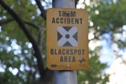 PTC-era 'Tram Accident Blackspot Area' sign