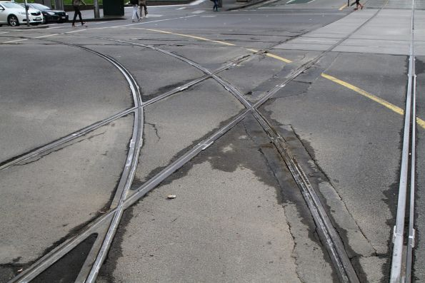 Deteriorating track at the corner of Collins and Spencer Street