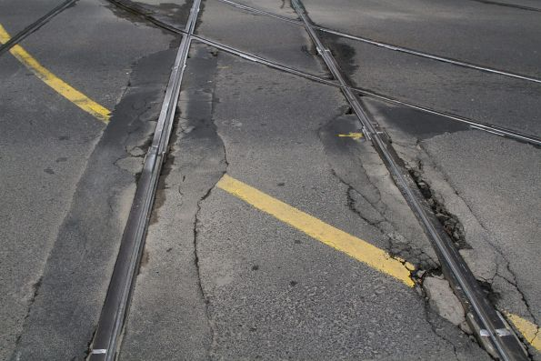 Deteriorating eastbound track at the corner of Collins and Spencer Street