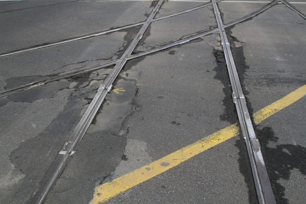 Deteriorating southbound track at the corner of Collins and Spencer Street