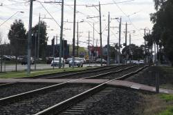 Wonky looking tram tracks on route 82 along Rosamond Road