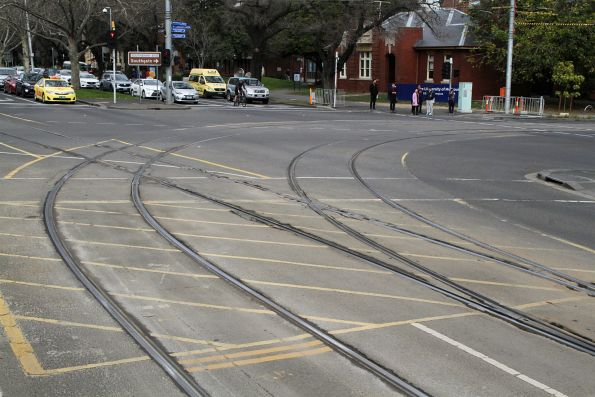 Battered track at the junction of St Kilda Road and Southbank Boulevard