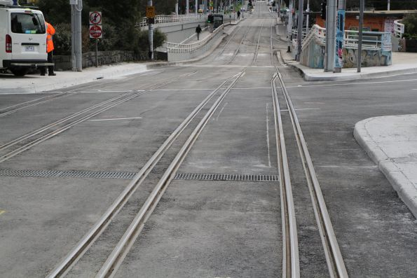 New gauntlet track arrangement for the Fitzroy Street diverge at St Kilda Junction