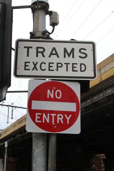 'No entry: trams excepted' sign at Flinders Street and Queensbridge