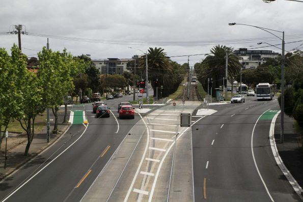 Looking down on the route 59 tracks along Mount Alexander Road in Essendon