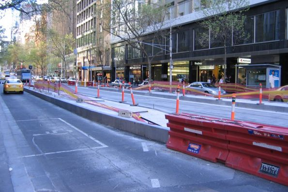 Work on a new platform tram stop at Collins and Elizabeth Streets