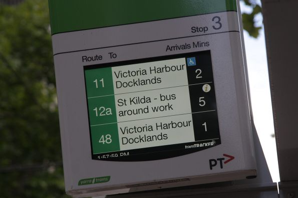 Route 12a trams running as 'St Kilda - bus around work' due to the rebuilding of Port Junction