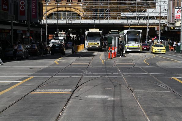 Newly relaid trackwork at the Elizabeth Street terminus