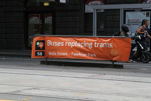 'Buses replace trams' notice on route 58 at William and Bourke Street