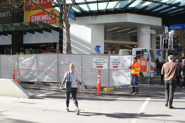 Footpath works block access to the tram stop at Swanston and Bourke Street