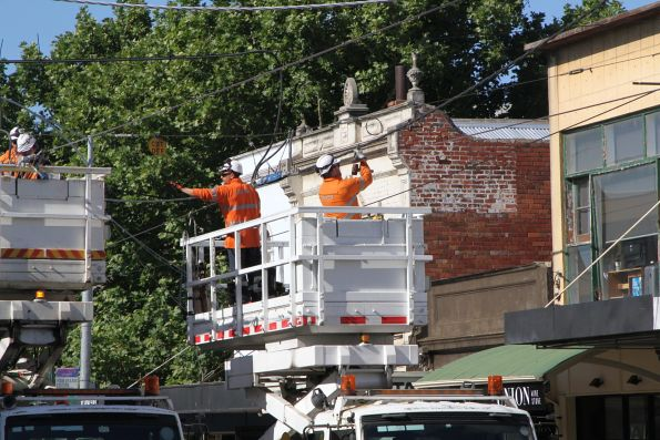 Tying the new overhead wires into the existing on Union Road in Ascot Vale