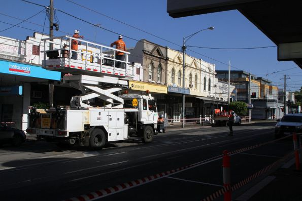 Stringing new overhead wire on Union Road in Ascot Vale