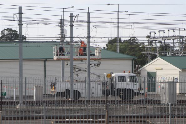 Yarra Trams crews training on the overhead wires at Newport Workshops