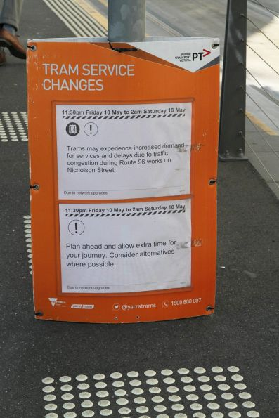 'Tram might experience increased demand due to route 96 works' notice at Melbourne University terminus
