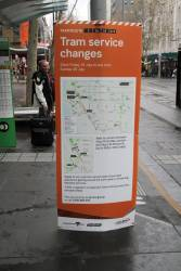 Notice of tram service changes due to the St Kilda Junction track work