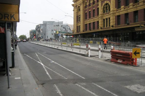 New island platform stop under construction, Flinders Street and Swanston Street