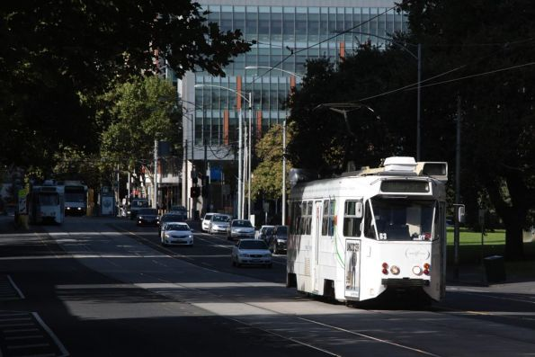 A diverted Z1.63 heads north on William Street outside Flagstaff Gardens