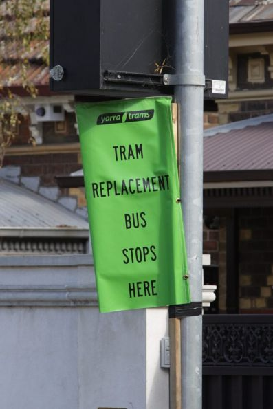 'Tram replacement bus stops here' flag