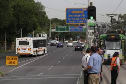 Tram replacement buses miss the transfer point on Flemington Road