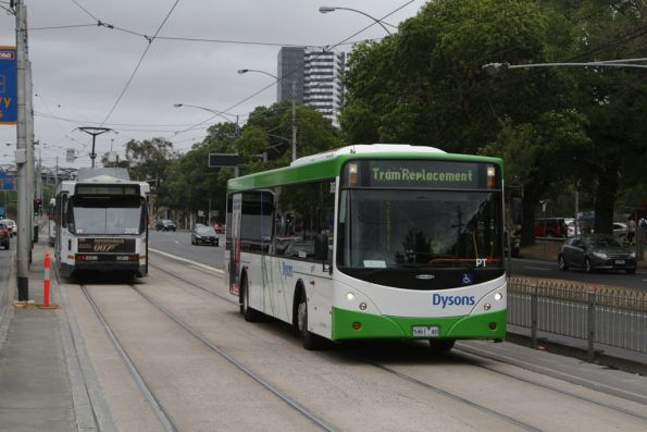 On a route 59 replacement service, Dysons #305 rego 5461AO arrives at the temporary tram interchange