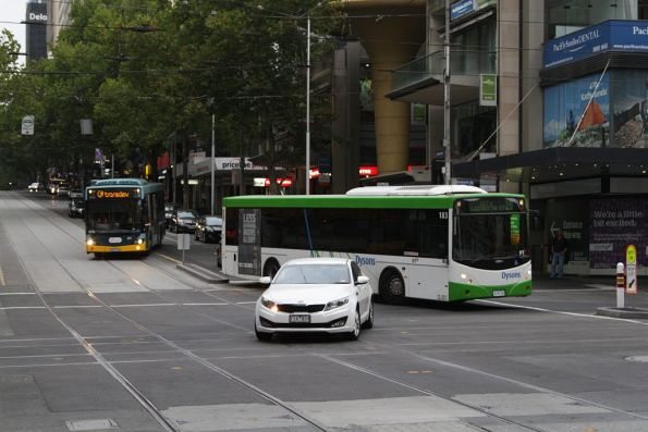 Route 19 replacement buses negotiate the turn from Bourke into Elizabeth Street