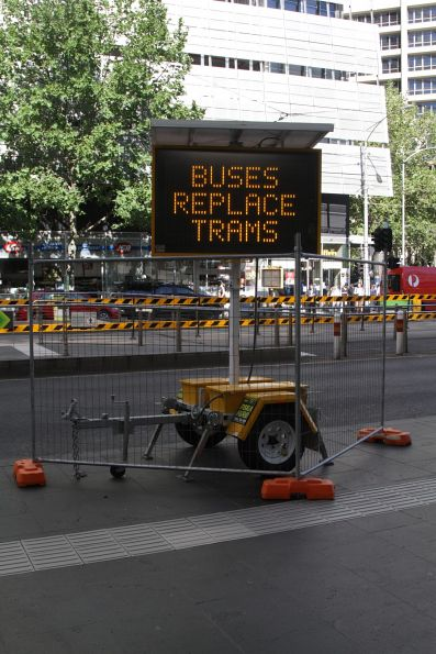 Notice at Southern Cross Station - buses are replacing trams to St Kilda and Port Melbourne