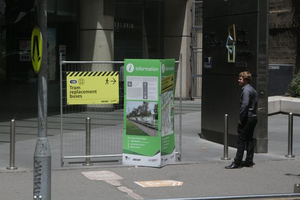 Notice on Collins Street - buses are replacing trams to St Kilda and Port Melbourne