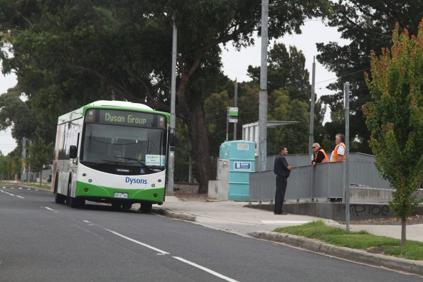 Dysons bus waiting for route 82 tram passengers at River Street, Maribyrnong