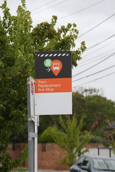 Tram replacement bus stop on route 82 at River Street, Maribyrnong