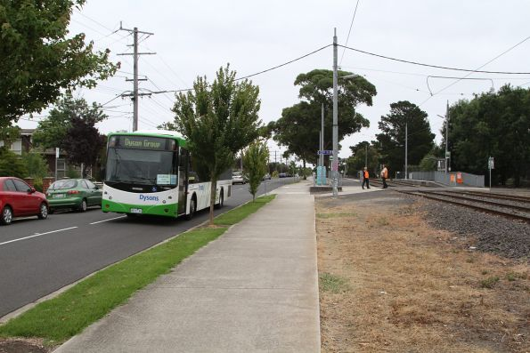 Dysons bus departs with Footscray-bound route 82 passengers at River Street, Maribyrnong