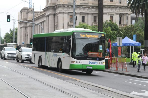Dysons bus #729 9139AO at Spring and Collins Street