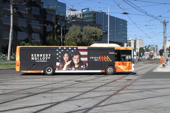 Ventura bus #210 5937AO on a route 1 replacement service at Sturt Street and Kings Way during tram works on Southbank Boulevard