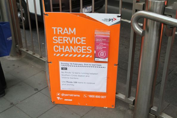 Notice that route 12 trams will not run between Southern Cross Station and Victoria Gardens on Sunday 10 February
