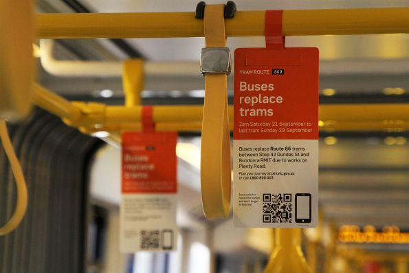 'Buses replace trams' signage onboard a route 86 tram